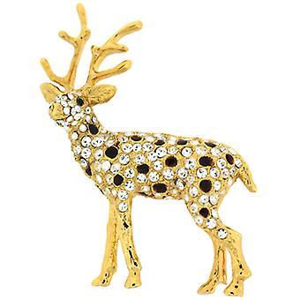 Broscher Store svart emalj guldpläterade och Swarovski Crystal renar brosch