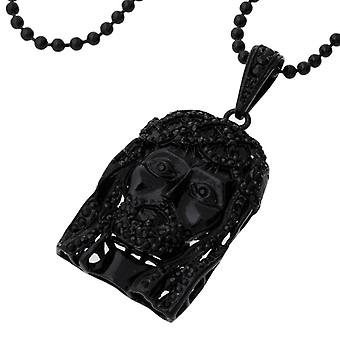 Iced out bling hip hop chain - BLING JESUS FACE black