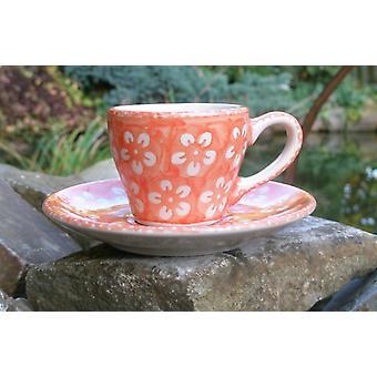 Espresso Cup & saucer, 2. W., orange, Bolesławiec BSN J-926