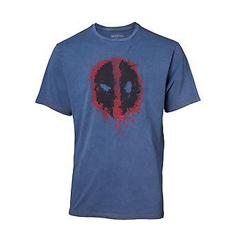 Deadpool كلاسيك نمط دليل القميص الجينز فو تي شيرت الكبيرة الزرقاء TS551101DEA-L
