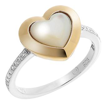 Orphelia Silver 925 Ring Heart Goldplated Mop &  Zirconium   ZR-7289/G