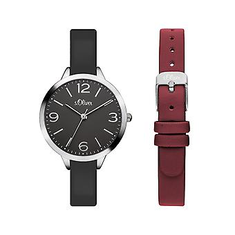 s.Oliver women's watch wristwatch leather SO-3362-LQ