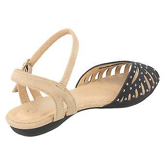 Girls Spot On Peep Toe Sandals H0123 Black Size UK 13