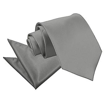 Platin-Ebene Satin Krawatte & Einstecktuch Satz