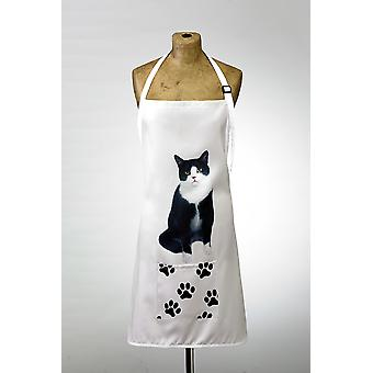 Adorable black & white cat design apron
