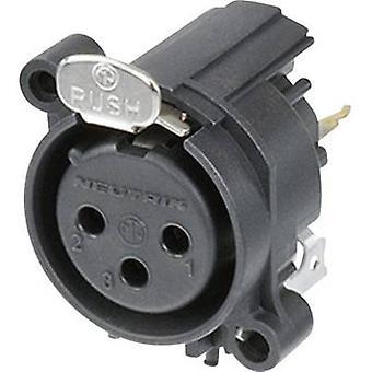 Zócalo de manga de conector Neutrik XLR NC3FAV1, recta fija número de pernos: 3 negro 1 PC