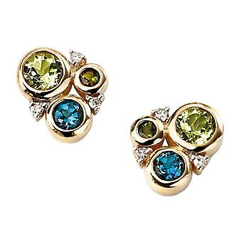 Elements Gold Multi Stone Circle Stud Earrings - Green/Blue/Gold