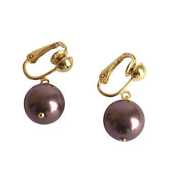 Gemshine - damas - clip - perlas de pendientes - Tahitian - marrón - oro 12 mm
