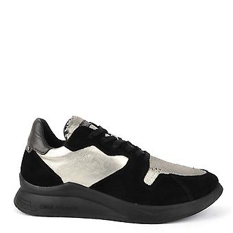 Crime London Naxos Black Suede And Gold Trainer