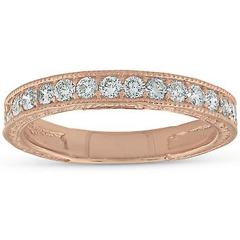 14 k Rose Gold 1 / 3ct Diamond Vintage trouwring Scroll patroon stapelbare Band