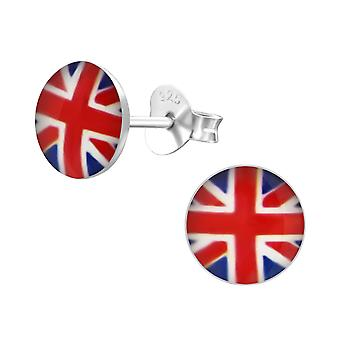 UK Flag - 925 Sterling Silver Colourful Ear Studs