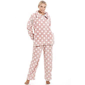 Camille Pink Supersoft Velours Fleece Polka Dot Pyjama Set