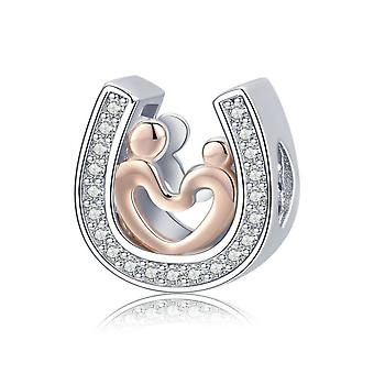 Sterling silver charm Horseshoe with heart