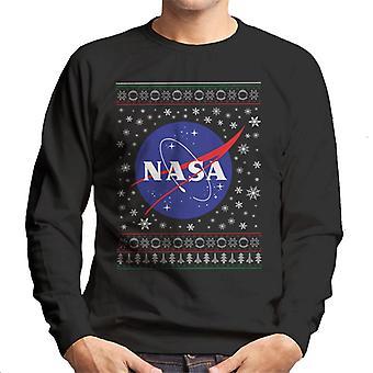 The NASA Classic Insignia Christmas Knit Pattern Men's Sweatshirt