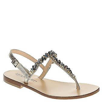 Handmade flat jeweled t-strap sandals in platinum leather