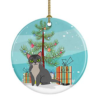 Carolines skatter BB4414CO1 asiatiske katten Merry Christmas Tree keramiske Ornament