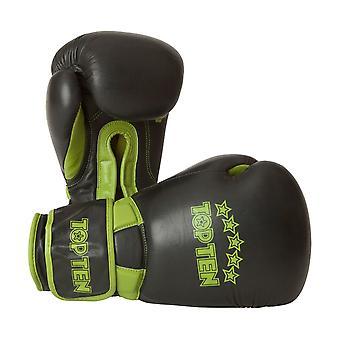 Top 10 Elite podwójne rękawice bokserskie czarny 16 uncji