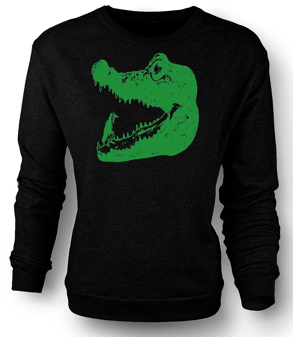 Mens Sweatshirt Cool Aligator Crocodile - Cool Graphic Design