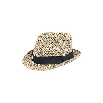 Lovemystyle Open Weave Fedora Hat With Black Band