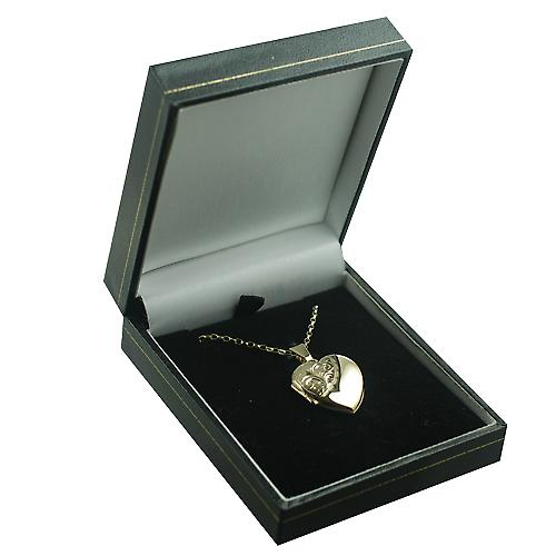 9ct Gold 21x19mm half hand engraved heart Locket with a belcher chain