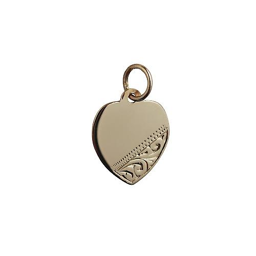 9ct Gold 14x14mm hand engraved Heart Disc