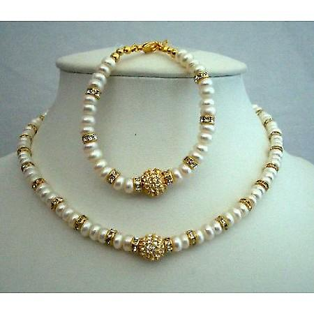 Choker Mother Jewelry FreshWater Pearls Gold Plated Rondells Bracelet