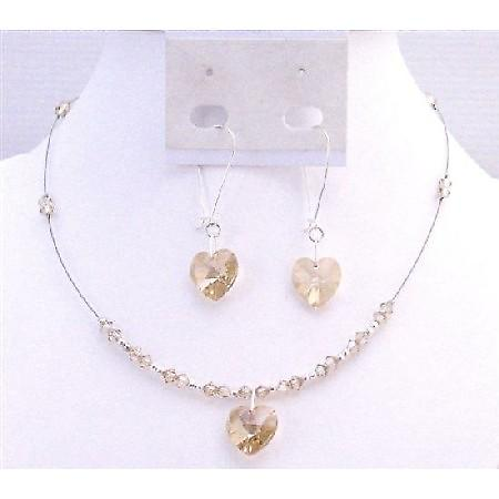 Golden Shadow Crystals Heart Pendant Bridesmaid Valentine Jewelery Set