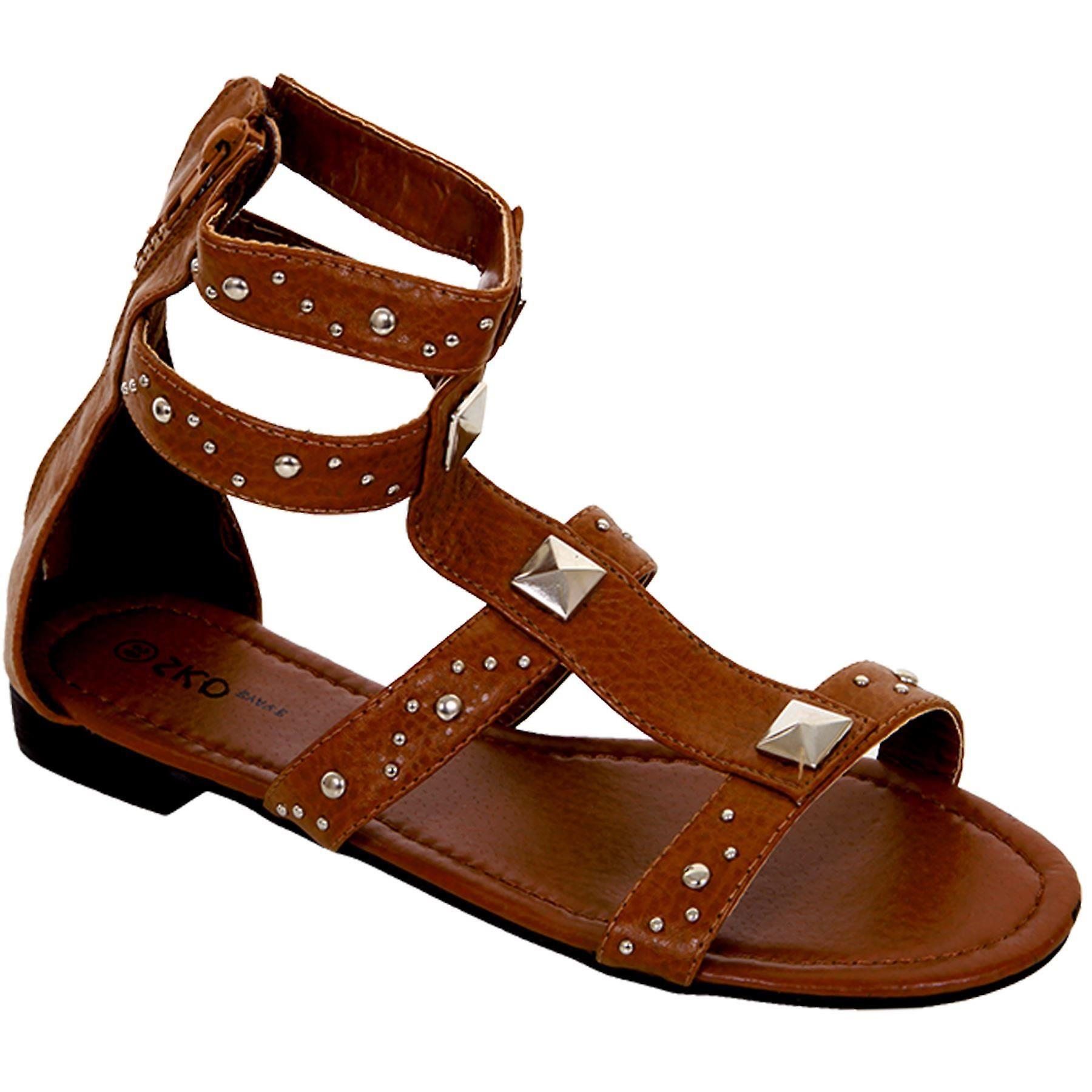 Ladies Tan Gladiator Flat Shoes Women's Small Heel Studded Zip Back Sandals