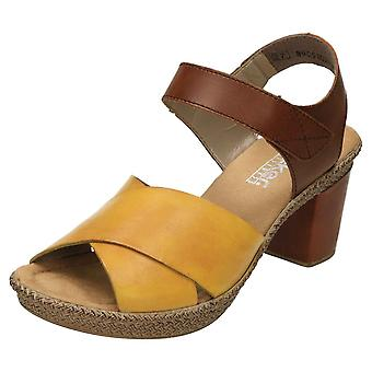 Rieker Leather Crossover Heeled Sandals 665H1-68