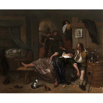 The Drunken couple,Jan Steen,52.5x64cm