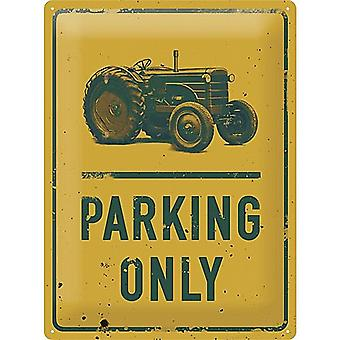 Tractor Parking Only large embossed steel sign   400mm x 300mm  (na)