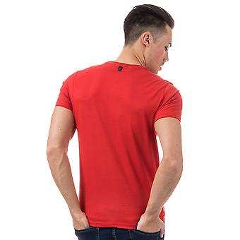 Mens Duck And Cover Simpson Logo T-Shirt In Red- Short Sleeve- Ribbed Collar-