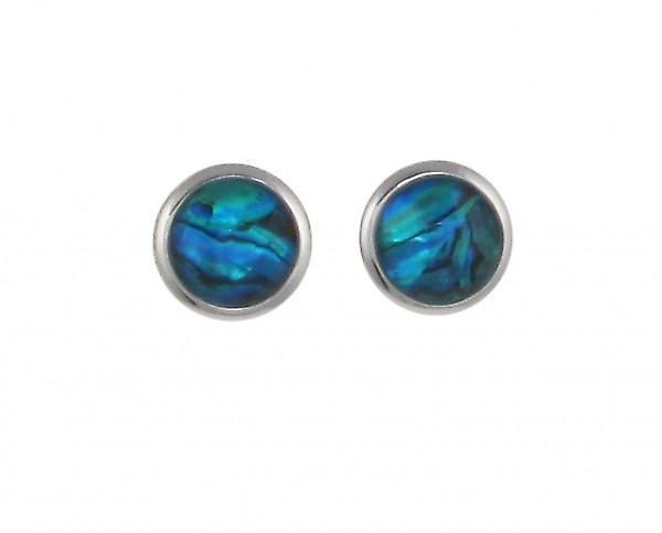 Cavendish French Round Blue Paua Shell Earrings