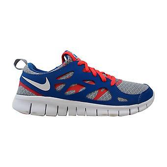 Nike Free Run II 2 Wolf Grey/White-LSR Crimson-Military 443742-020 Grade-School