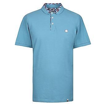 Pretty Green Blue Paisley Print Collar Polo Shirt