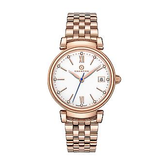 Granton Women's Rose Gold-Tone Diamond Accented Enamel Dial Wrist Watch for Ladies   Swiss Movement Stainless Steel