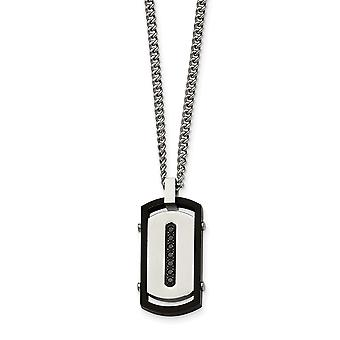 Stainless Steel Brushed Polished Black Ip Rim Black Cubic Zirconia Tag Necklace - 22 Inch