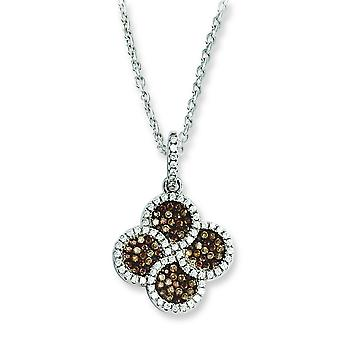 Sterling Silver Pave Brown Rhodium-plated Lobster Claw Closure and Cubic Zirconia Brilliant Embers Flower Necklace - 18