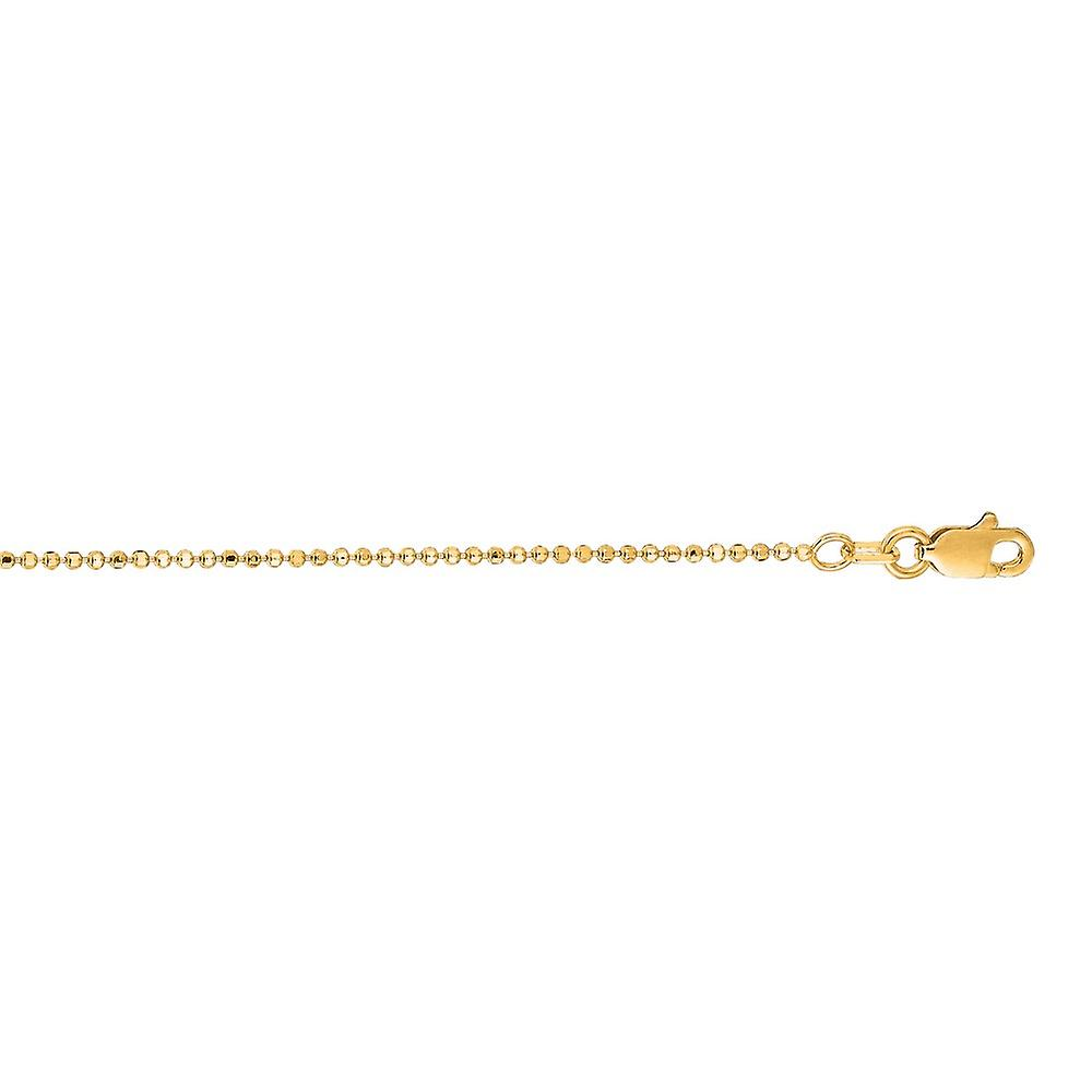 14k jaune or 1.2mm Sparkle-Cut Bead Chain Necklace With Lobster Clasp - Length  16 to 20