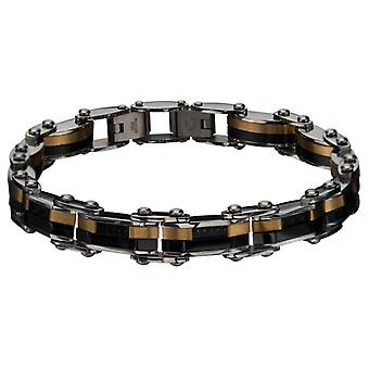 Double-sided stainless steel bracelet for men, IP gold