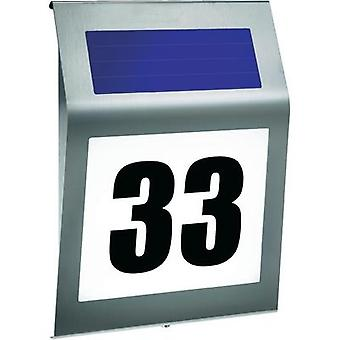 Solar-powered illuminated house numbers Cold white Esotec 102031 Style Stainless steel