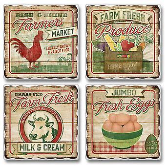 Farmers Market Farm Fresh Eggs Milk and Cream Tumbled Stone Coasters Set of 4