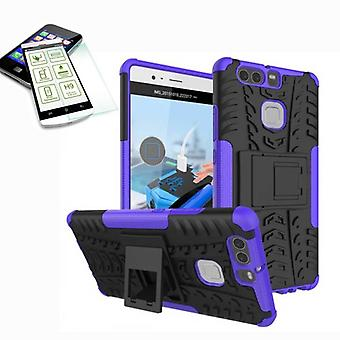 Hybrid case of 2 piece purple for Huawei P9 + bulletproof bag case cover