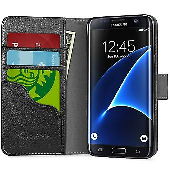 i-Blason Galaxy S7 Edge Synthetic Leather Wallet Case - Black