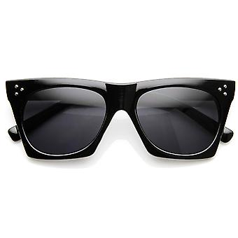 Mod Fashion Angular Riveted Horn Rimmed Sunglasses