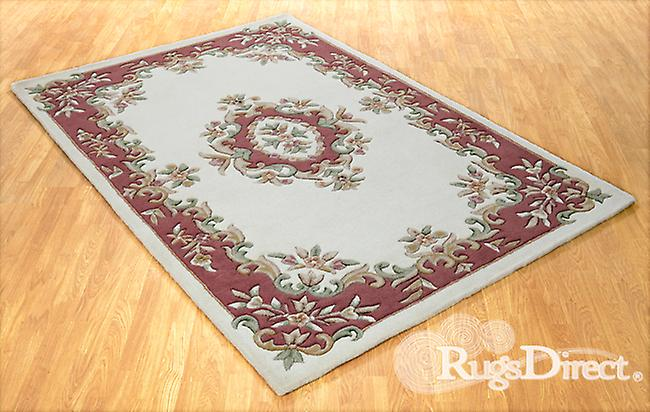 Royal Indian Cream-Rose The design is in shades of rose, green and beige on a cream background Rectangle Rugs Traditional Rugs