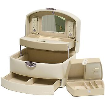 Jewelry box jewelry box beige synthetic with mirror, automatic and travel case
