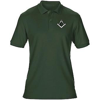 Francmasones G Gnosis Plaza y brújula bordado Logo - camisa Polo para hombres