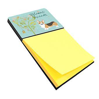 Welcome Friends Pembroke Welsh Corgi Tricolor Sticky Note Holder