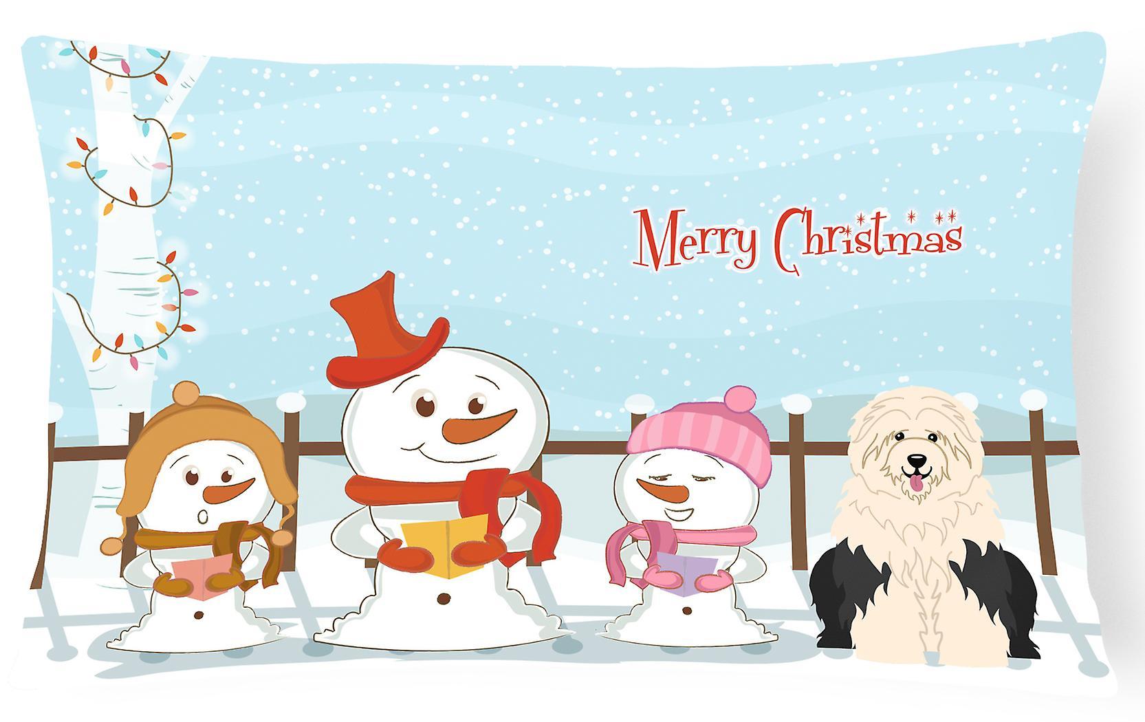 Old Oreiller Joyeux Noël English Sheepdog Décoratif Chanteurs Toile Tissu dWrCBxoe